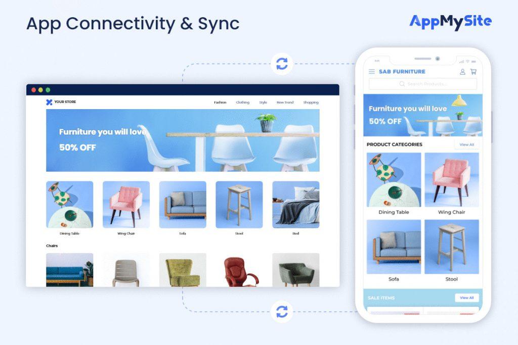 app connectivity and sync appmysite